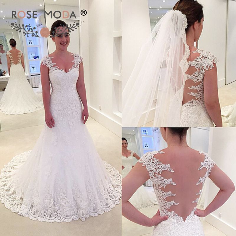 Us 23715 15 Offrose Moda Cap Sleeves Lace Wedding Dress 2019 Backless Mermaid Bridal Dresses Custom Make In Wedding Dresses From Weddings Events
