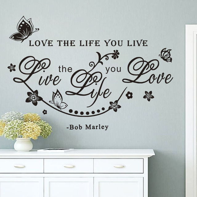 live the life you love wall sticker quotes art words home decorative butterflies and flowers wall