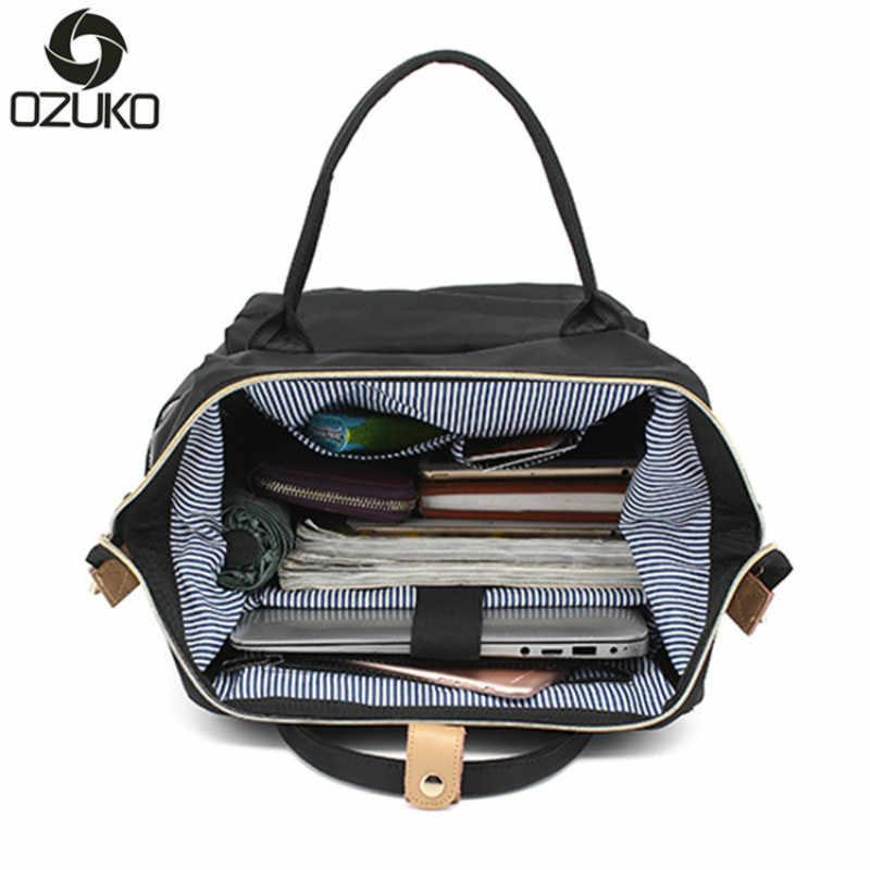Ozuko Double Menggunakan Wanita Mummy Tas Laptop Pria Wanita Tas Sekolah untuk Remaja Laki-laki dan Perempuan Perjalanan Tas Bahu 26*17*40 Cm