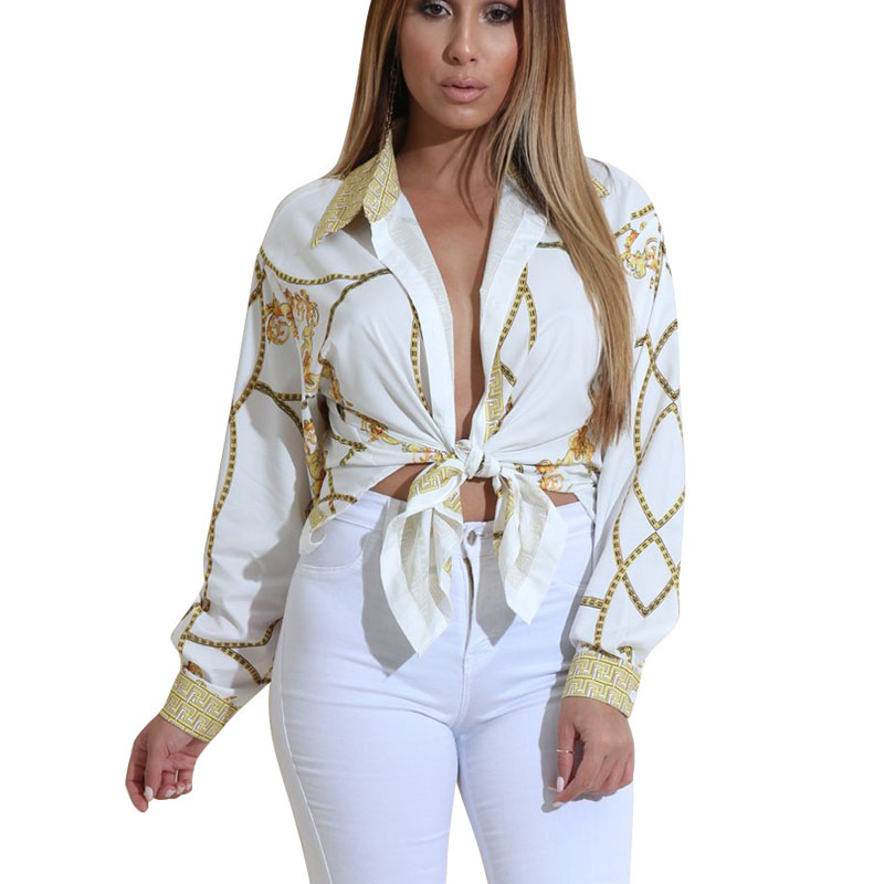 Fall 2018 Club   Blouse     Shirt   Women Deep V Neck Gold Chain Printed Long Sleeve   Blouse   Tops Causal Female Clubwear Basic   Shirt