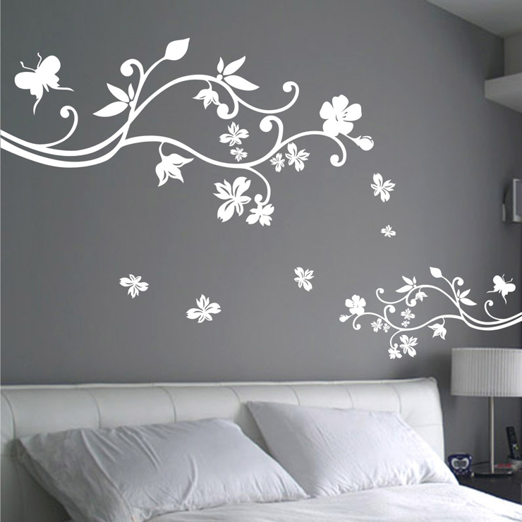 Large flower wall sticker beautiful flower wall decal diy vinyl wholesale and retail flowers large wall stickers plant flower wall decals wall covering wall paper home mightylinksfo