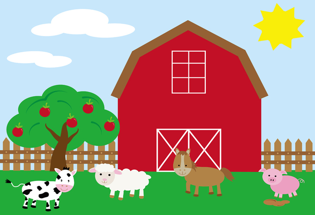 cartoon backdrop for kids pictures farm puppy birthday photo booth