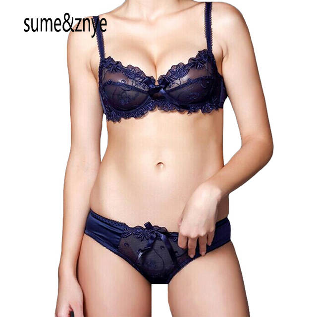 0e471c66aab42 placeholder French Female Underwear Women Bra Set Embroidery Sexy  transparent lace bra and panty set plus size