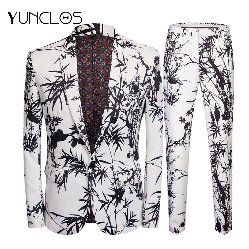 YUNCLOS  Floral Printed Men's Slim Fit Suits 2 Pieces Jacket & Pant Wedding Party Suits One Button Single Breasted Men Suits