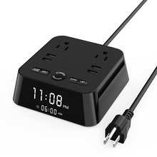 1.8M Power Extension Cord Socket with 4 USB Strip 2 Outlets Adapter Alarm Clock Charger