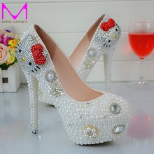 Cartoon Hello Kitty Rhinestone Wedding Shoes White Pearl Spring Autumn Lady Party Shoes Anniversary Party Prom Heels Big Size 45