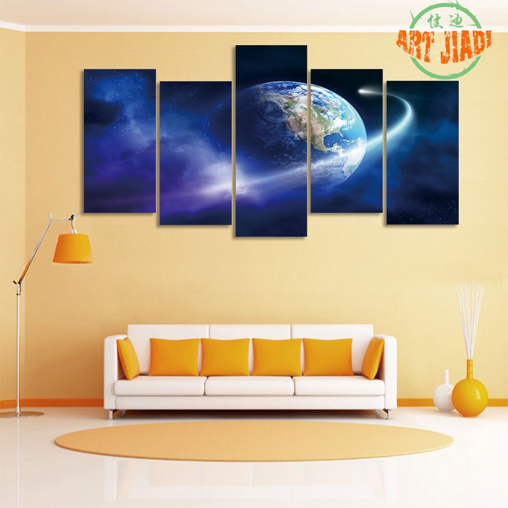 New 5 Pieces/sets Canvas Art 5 panel HD Universe Earth Space Canvas ...