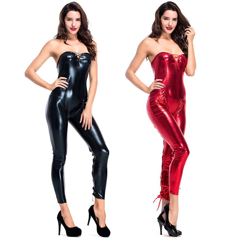 Women New Nightclub Bar DJ Costumes Pole dancing Clothe Novelty PU Leather Jumpsuits