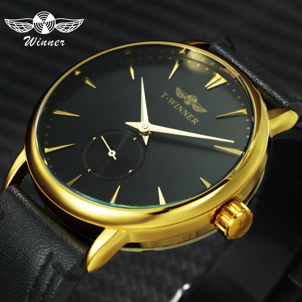 WINNER Fashion Casual Mechanical Watch Men Leather Strap Ultra Thin Dial Concise Golden Mens Watches Top