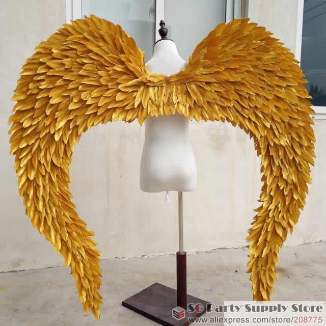 Costume Women gold feather wings High Quality Lady Angel