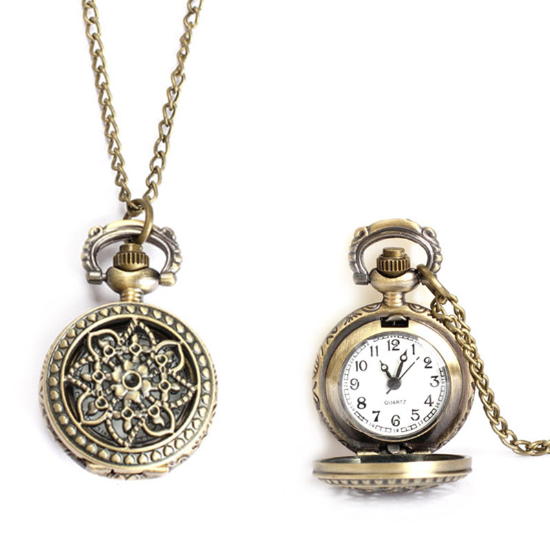 Vintage Small Size Lotus Hollow Quartz Pocket Watch Necklace For Women Men 88 TT@88