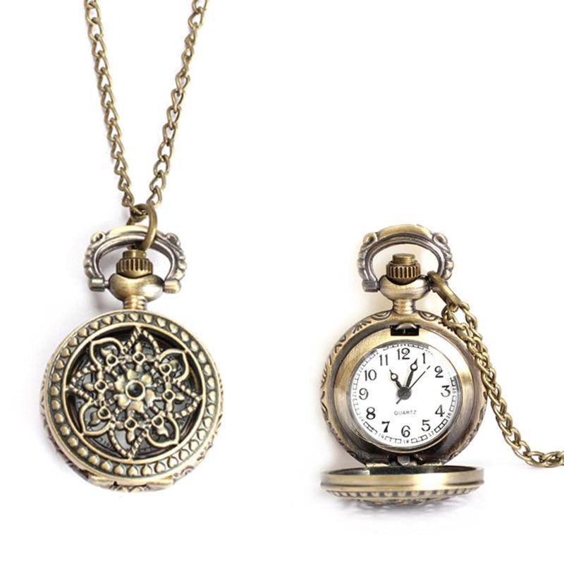 Vintage Small Size Lotus Hollow Quartz Pocket Watch Necklace For Women Men 88 TT@88