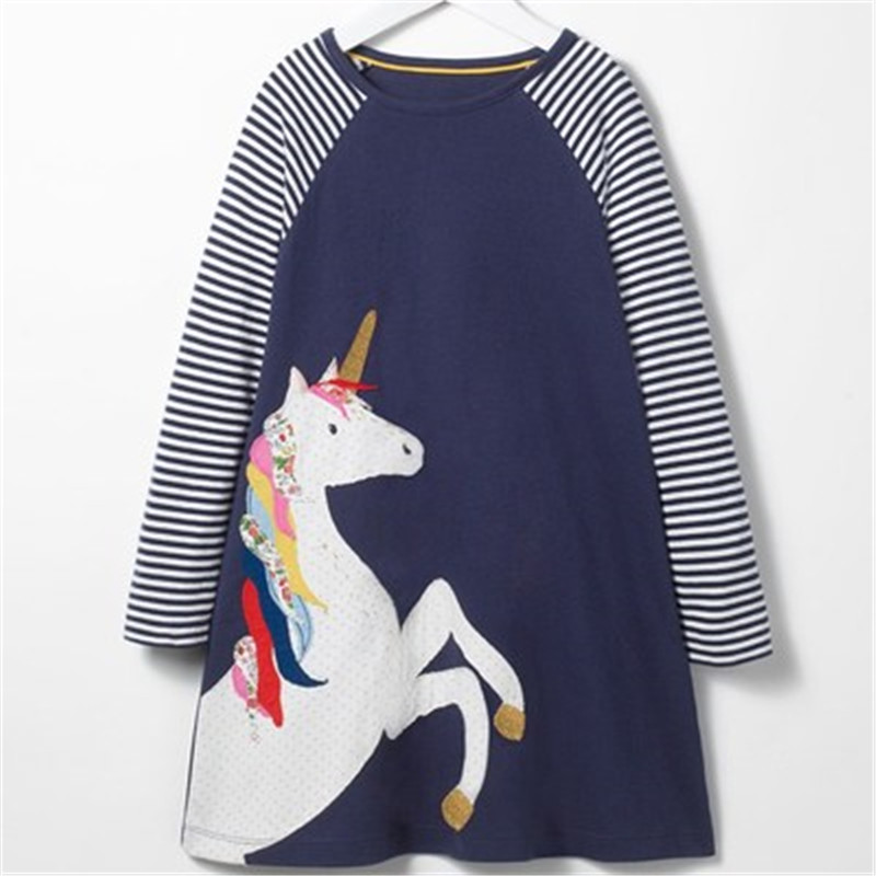 Lollas Girl Dress Party Dresses Animal Applique Long Sleeve Cute Children Costume Robe Kids Casual Denim Baby Girl Clothes girls dress with animal applique long sleeve princess dress children costume robe fille kids party dresses baby girl clothes