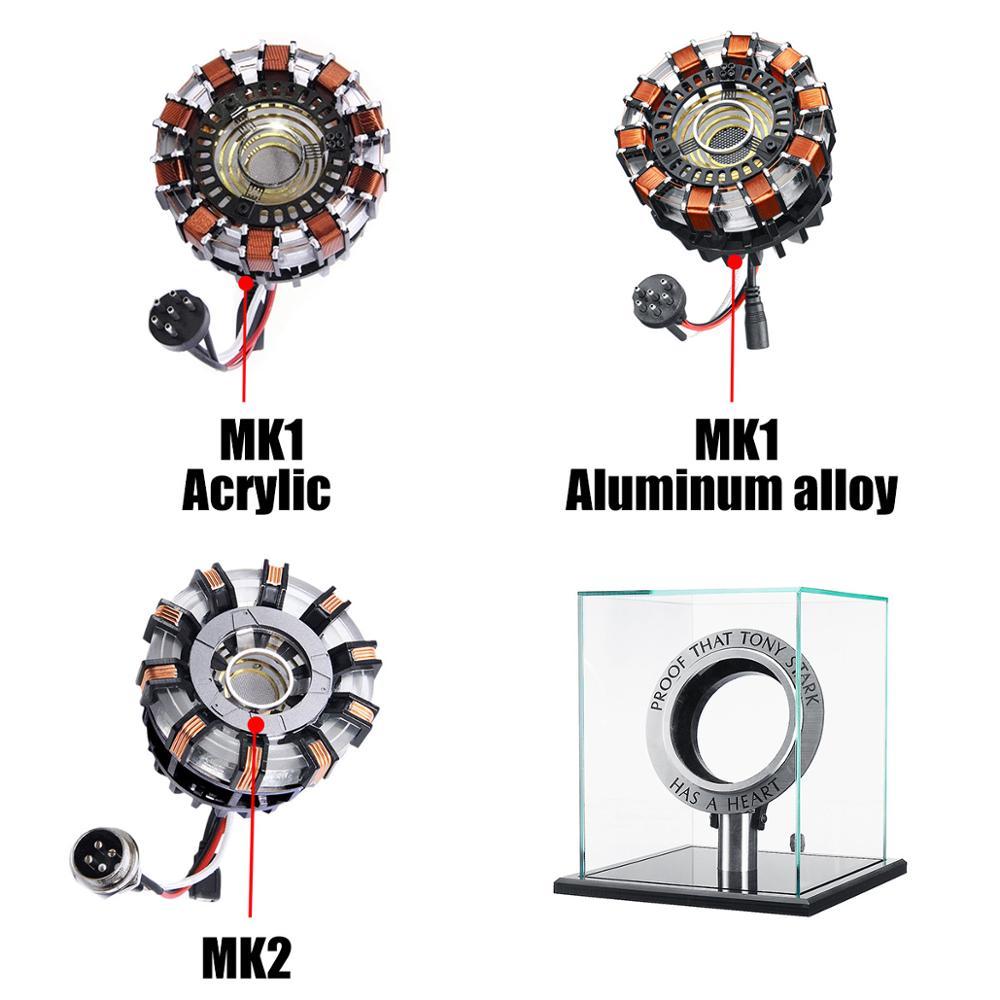 MK1/MK2 alliage d'aluminium/acrylique Tony 1:1 Arc réacteur bricolage modèle Kit LED lampe de poitrine USB film accessoires cadeaux Science jouet