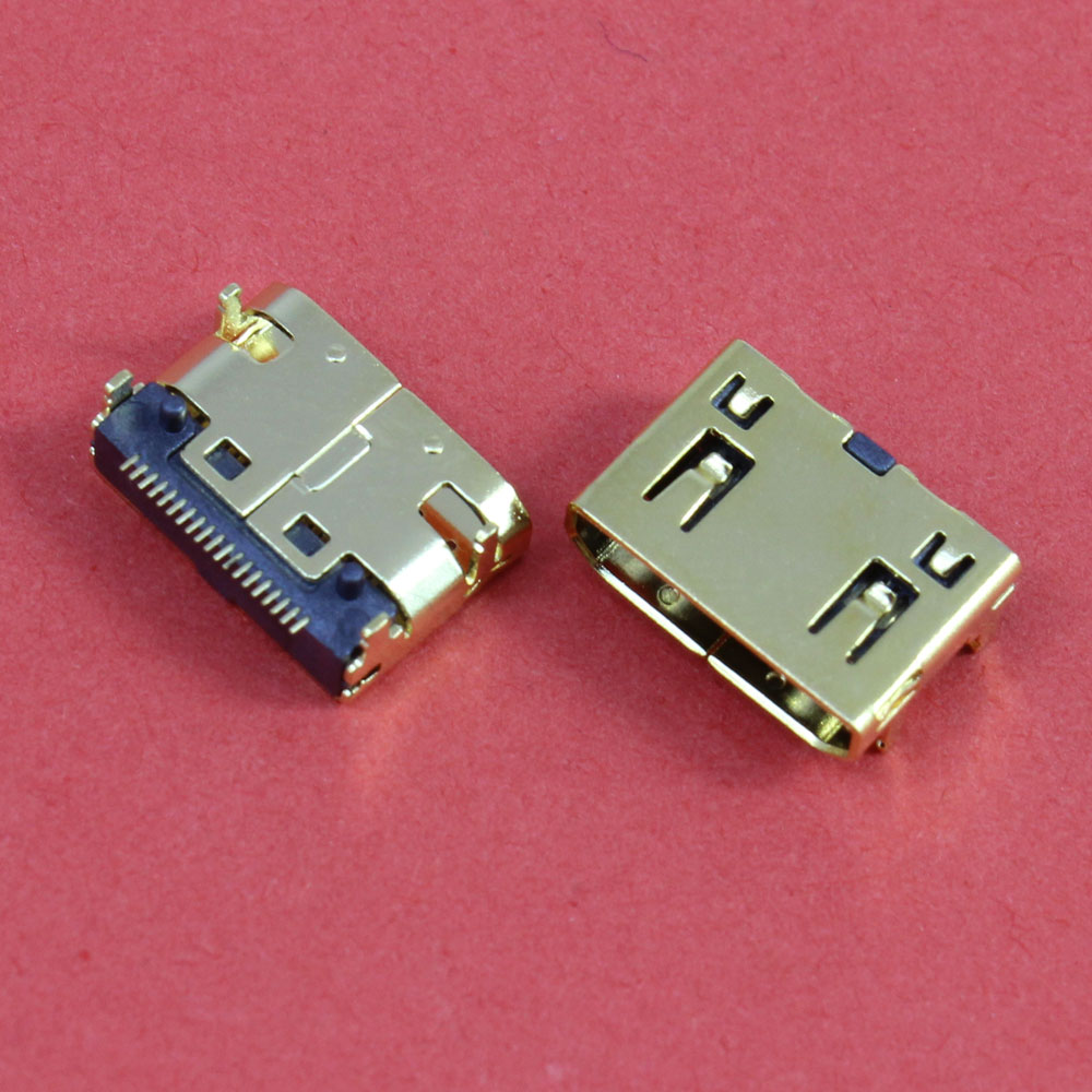 1Piece Mini HDMI Female 19pin USB Connector SMD 19pin Reflow Solderable Right Angle Surface Mound PCB Rohs For Tablets