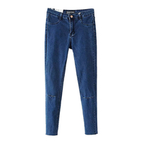 The New Fall High Waisted Retro Jeans Slim Tall Waist Knee Elastic Belt Buckle Holes In