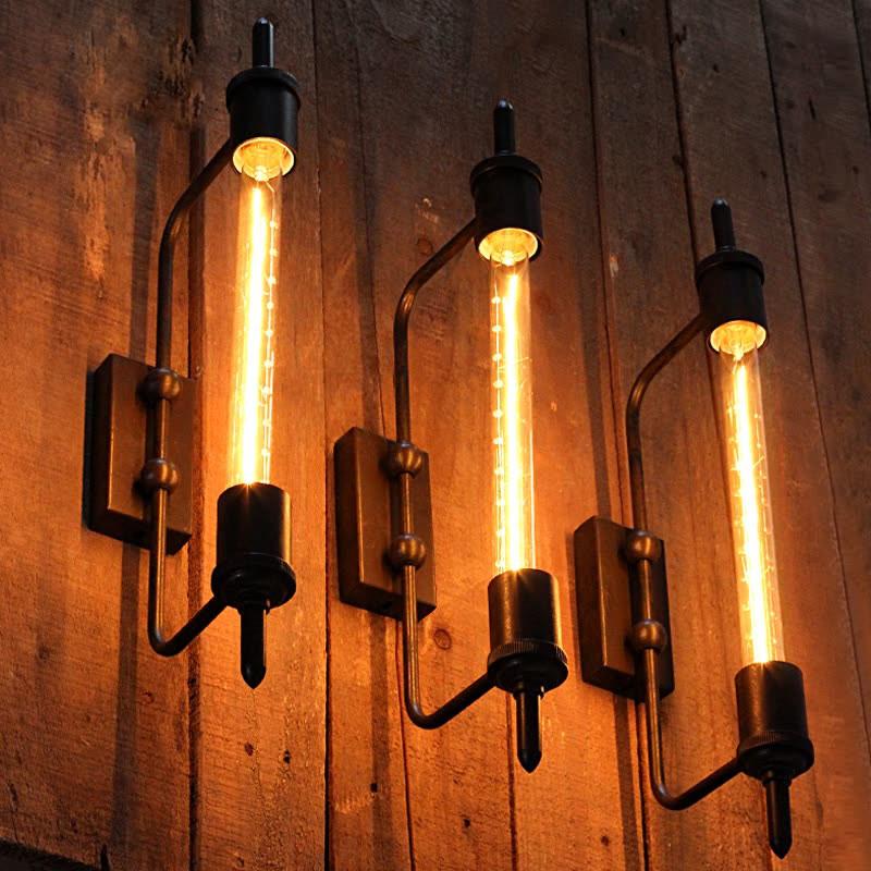 Винтажная настенная лампа Паровая труба Ретро черный металлический настенный светильник для ванной комнаты Тщеславие освещение/приспособ