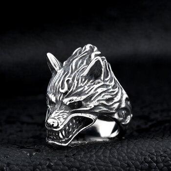 Beier 316L acier inoxydable nez viking loup tête animal pour homme Unique prix de gros bijoux LR160 9