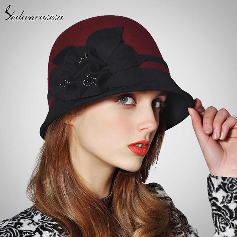 182110e9c01 Sedancasesa 2019 New Fashion Autumn Winter England Style Vintage Woman  Fedora Hat Felt Caps Cloche Hats