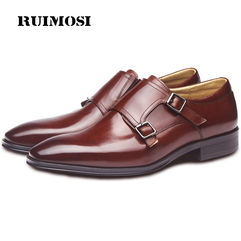 RUIMOSI Vintage Italian Designer Man Monk Shoes Genuine Leather Basic Formal Dress Pointed Toe Wedding Bridal Men's Flats GD49