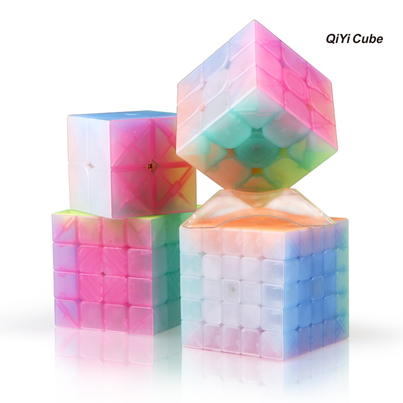 NEW QIYI Transparent Smoothly Professional Speed Magic Cube Puzzle Twist Classic Brain Game Toys 2x2 3x3 4x4 5x5 z cube bundle black knight 2x2 3x3 4x4 5x5 speed cube set cube pack puzzle carbon fiber cube magic fidget toy gift box