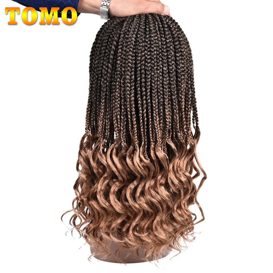 TOMO 22Roots Crochet Hair Box Braid Hair 14 18 24 Inch Crochet Braids With Wave End Synthetic Braiding Hair Extensions