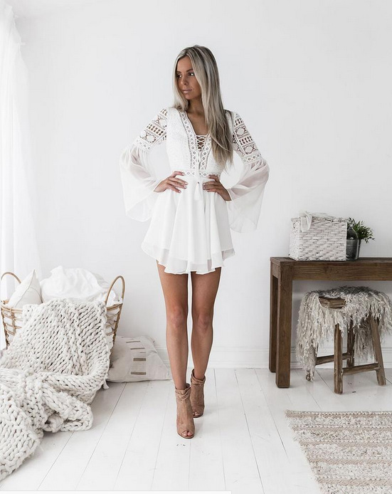 White Lace V-Neck Long Sleeve Boho Dress 1