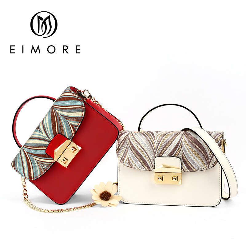 2019 New Designer Women Bags Genuine Leather Ladies Embroidery Handbag Female Small Messenger Shoulder Bag Mini