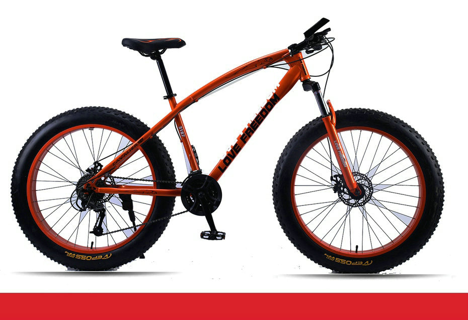 "HTB1gp6PeEGF3KVjSZFmq6zqPXXa0 Love Freedom Mountain Bike 7 Speeds, 21Speeds .24 Speeds .27 Speeds Fat Bike 26x4.0""  Off-road gear reduction Beach Bike"