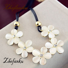 FreeShipping Chic Korean Luxury Elegant Women Leather Opal Flowers Necklace Sparking Crystal Pendant Necklace Fashion Jewelry