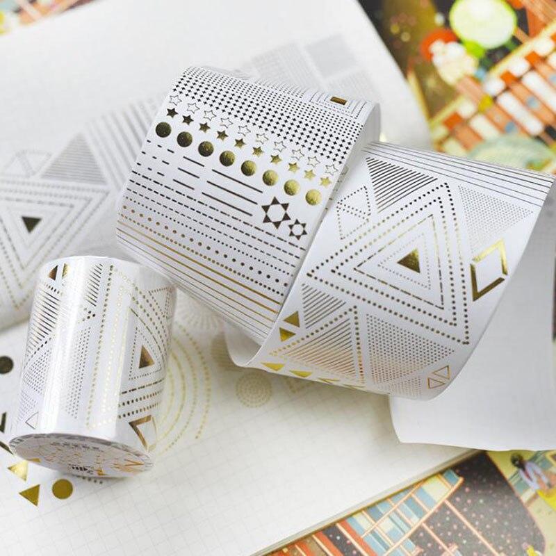 1 Pcs Hot Gold Foil Gild Slim Basic Washi Tape DIY Masking Tapes Scrapbooking Decorative Paper Tape Stickers Cute Stationery стоимость