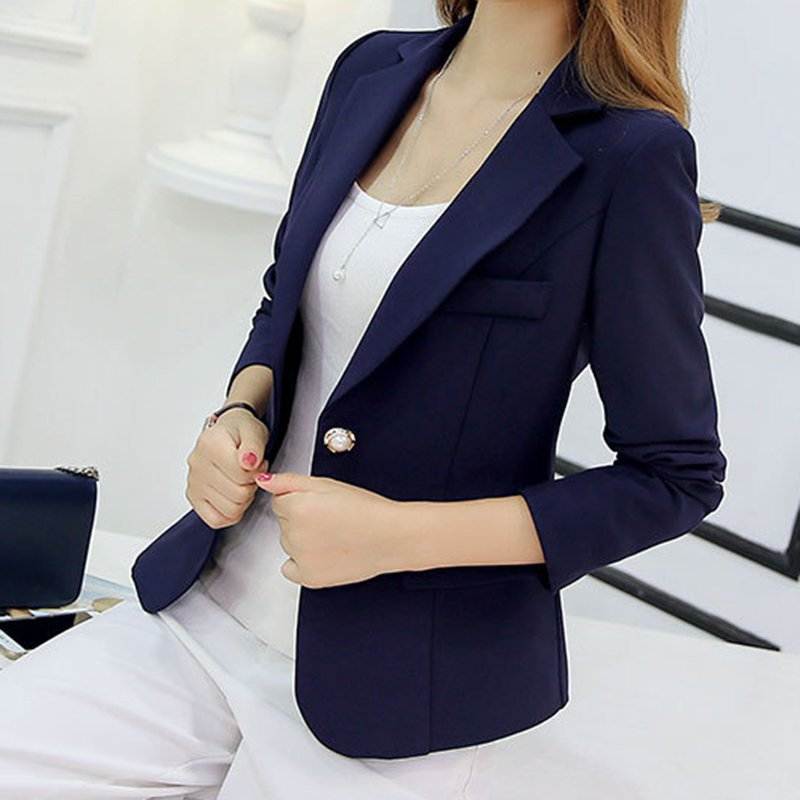 *Blazer Women New Arrivals 2019 Ladies Blazers Sleeve Long Business Office Suit Jackets Female Blue Purple Gray Blaser Femme*