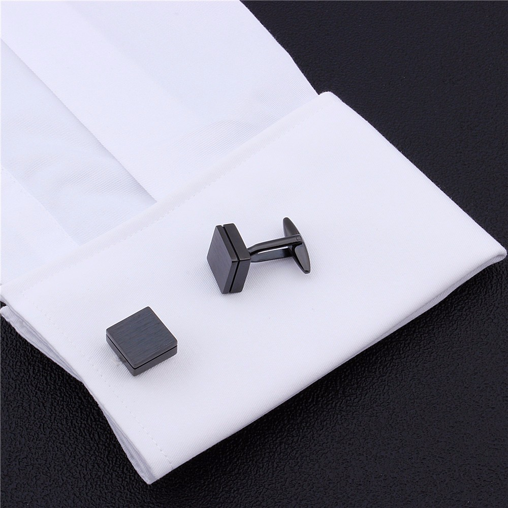 Image 2 - HAWSON Retailed Formal Brushed Cufflinks Men's Suit Shirt IP Black CuffLinks High Quality with Gift Box-in Tie Clips & Cufflinks from Jewelry & Accessories