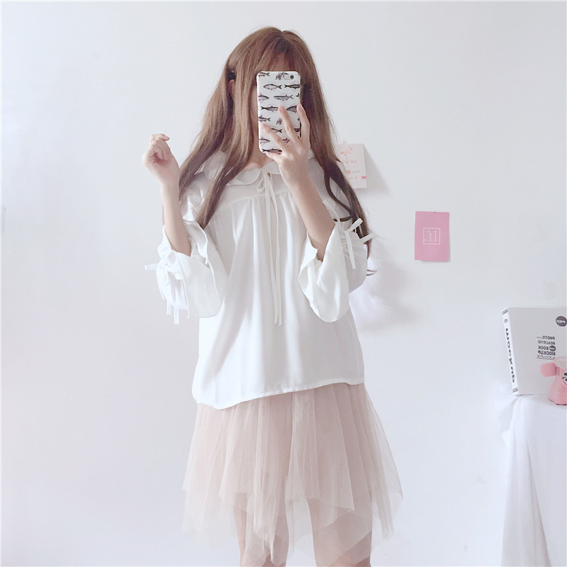 Sweet Lolita Shirt 2019 Mori Girls Autumn Spring Japanese Style Peter Pan Collar Long Sleeve White Red Lace-up Blouse Blouses & Shirts