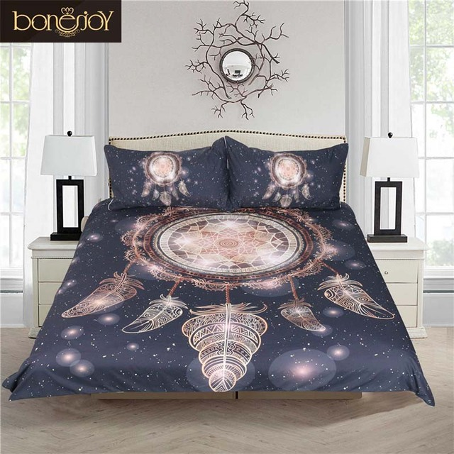 Bonenjoy Dream Catcher Bedding Galaxy Duvet Cover Sets Black And White Bed  Cover Queen Size Bedding