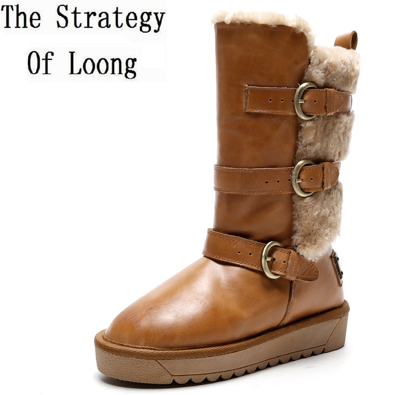 Winter Anti Skid Plush Cow Leather Buckle Chunky Snow Boots Pure Color Fur With Leather Metal Decoration Women Boots ZY171025