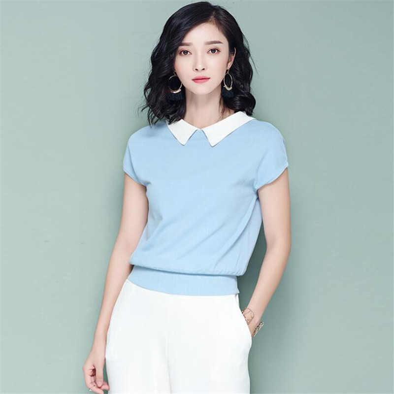 Women Fashion Pullovers 2017 New Summer Autumn Knitted Tops Women Short Sleeve T-Shirt Female Clothing White Ma303