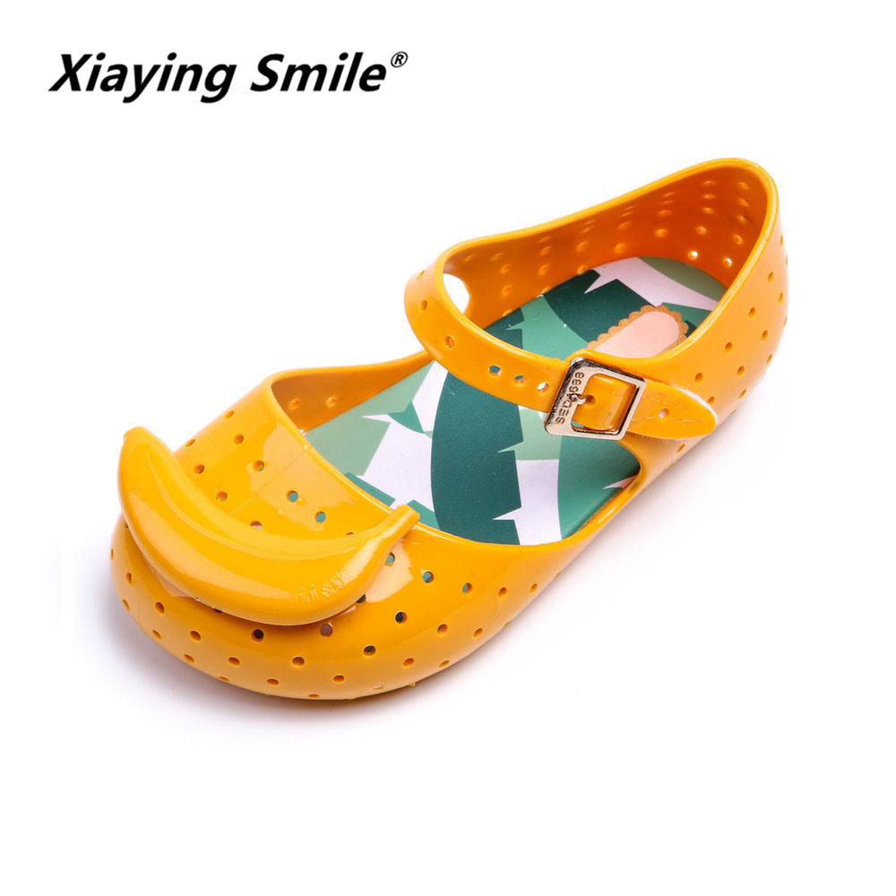 2018 New Style children Jelly shoes Summer Bowknot Fruits baby boys girls Bubber soft sole comfortable Fish mouth kids sandals