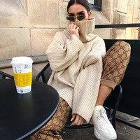 turtleneck sweater women long casual plus size pullovers