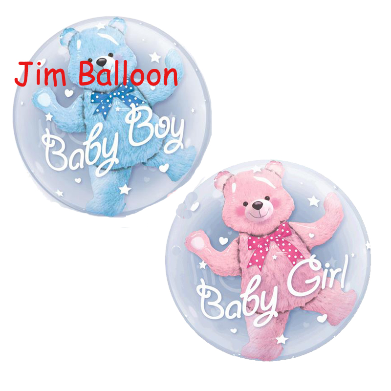 <font><b>22</b></font> inch Pink Blue Bear Bubble Foil Balloon Carton Bear Ball in Ball Balloon Baby <font><b>Birthday</b></font> Party Supplies Kids Toys image