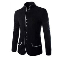 2018 Men's Casual Wool Tunic Collar Small Jacket Winter and Autumn Fashion Slim Fit Men Blazer