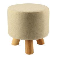 Modern Luxury Upholstered Footstool Round Pouffe Stool Wooden Leg Pattern Round Fabric Grey 3 Legs