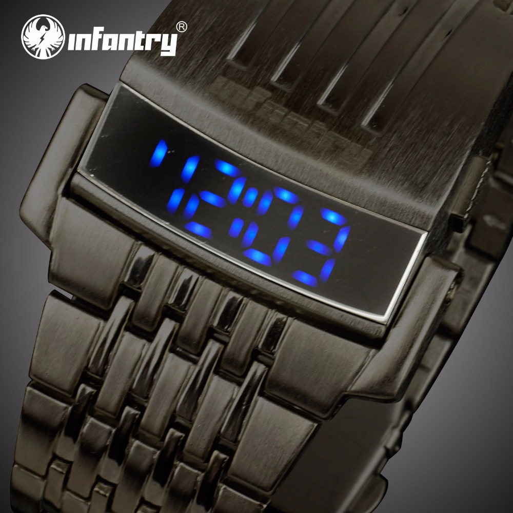 INFANTERIE Heren LED Digital Horloges Roestvrij stalen sport horloges - Herenhorloges