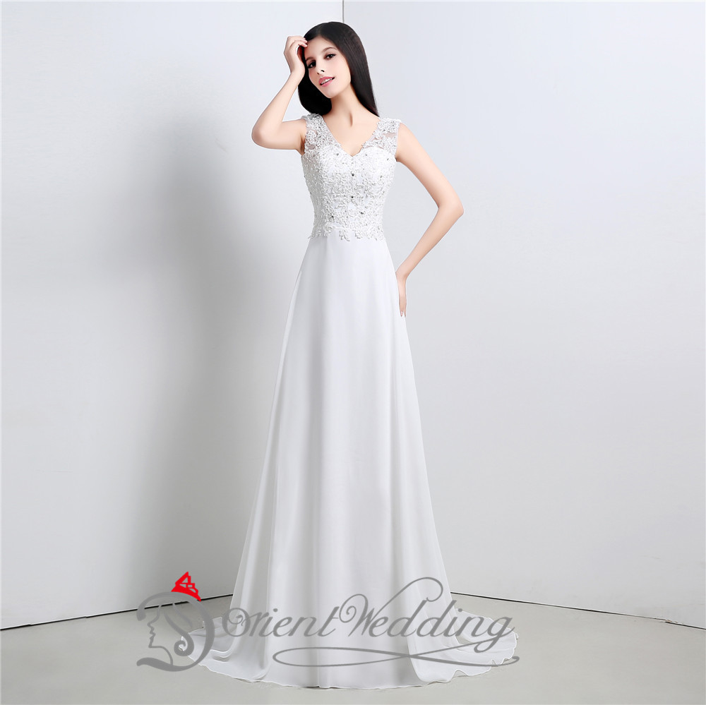 Simple cheap wedding dresses under 100 v neck beaded top for Long wedding dresses under 100