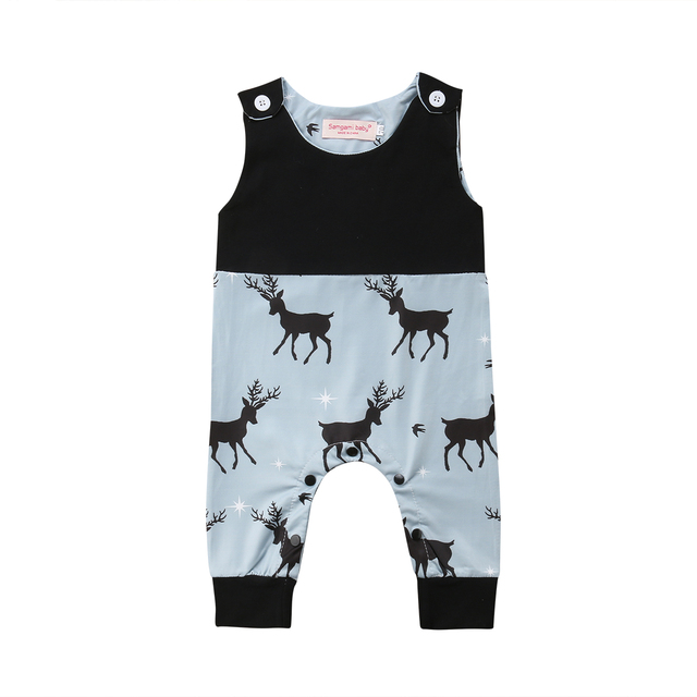 ba163cbe5c1 2018 Newborn Infant Baby Boy Girl Sleeveless Romper Deer Jumpsuit Clothes  Summer Christmas Outfits 0-24M