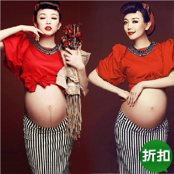 ФОТО Maternity Photography Props pregnant women Stripe package hip skirt Dress Pregnancy Red costume clothing Fancy Free shipping
