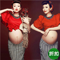 Maternity Photography Props pregnant women Stripe package hip skirt Dress Pregnancy Red costume clothing Fancy Free shipping