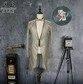 Masculino longo casaco manga de prata pode remover tuexdo do noivo prom casacos Trench dancer cantor desempenho show de boate desgaste Fino