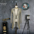 male long jacket silver sleeve can remove groom prom coats tuexdo Trench dancer singer performance show nightclub Slim  wear
