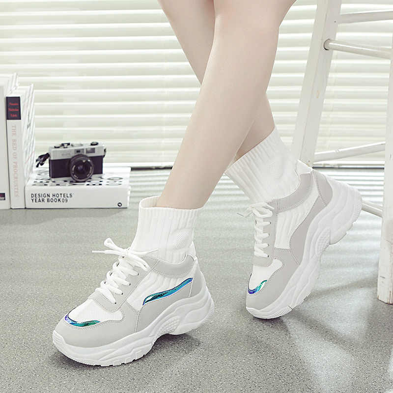 fce5fb27548 ... ADBOOV New Trendy High Top Women Sneakers Autumn Platform Shoes Woman  Comfortable ladies trainers Sock Shoes ...
